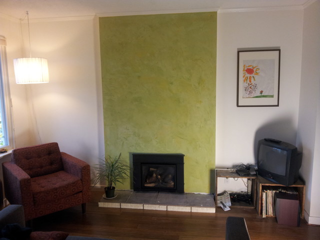 Avocado Green Stucco Italiano Fireplace Surround Contemporary Living Room