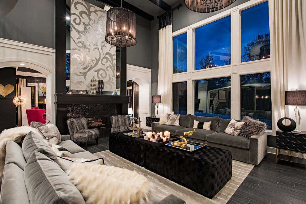 Living room - huge transitional formal and enclosed black floor and vinyl floor living room idea in Cleveland with a tile fireplace, black walls, a ribbon fireplace and no tv
