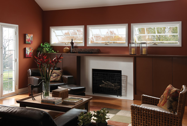 Awning Windows Contemporary Living Room Raleigh By