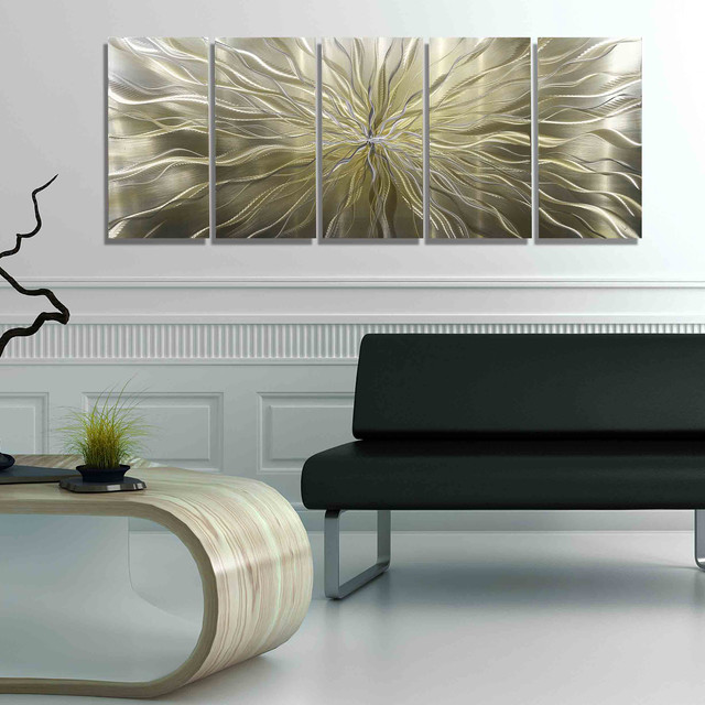 Axiom Large Abstract Silver And Gold Hand Etched Modern Art Metal Wall Decor Modern Living