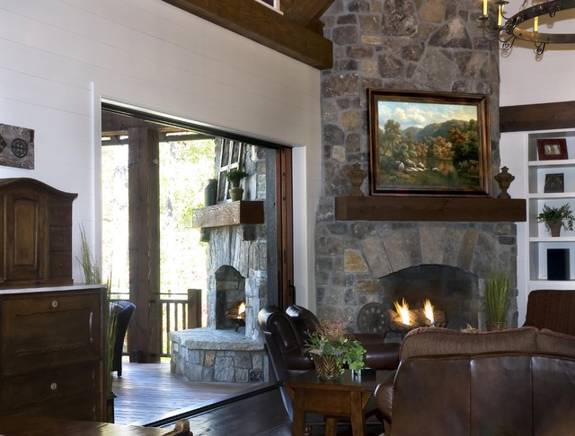 Rustic Lakehouse  living room