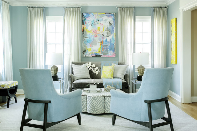 Baby Blue Living Room Transitional Living Room New York By