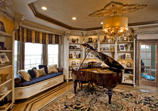 Baby Grand Piano Living Room Window View Teddy Car In Play Transitional