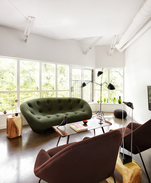 Genial Example Of A Trendy Open Concept Concrete Floor Living Room Design In  Toronto With White Walls