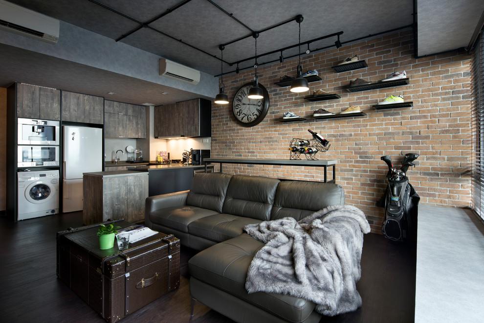 Living room - industrial open concept brown floor living room idea in Singapore with brown walls