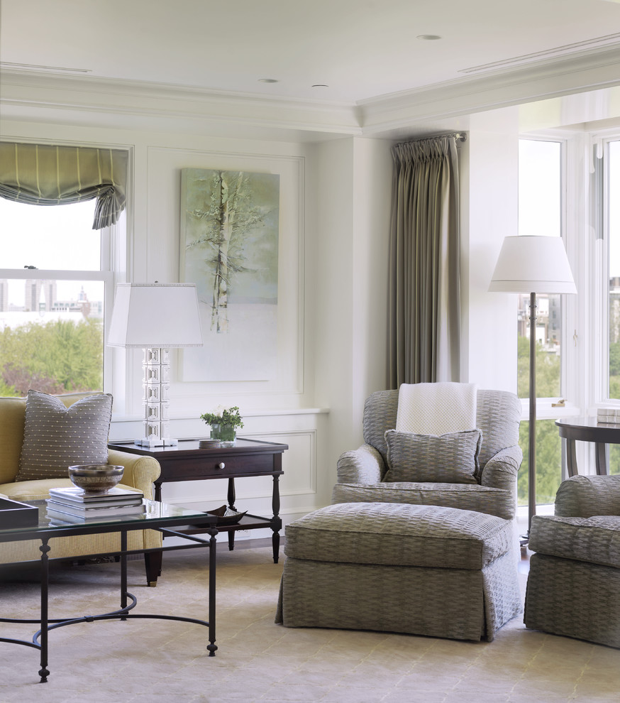 Inspiration for a timeless living room remodel in Boston with white walls