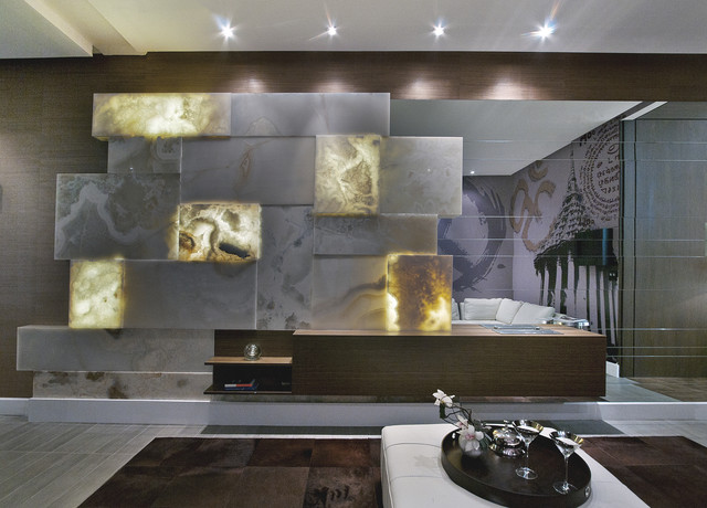 Lighting Behind Onyx Marbles : Back lit white onyx eclectic living room miami by