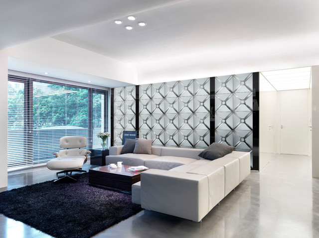 background wall,mirror wall tiles - Contemporary - Living ...