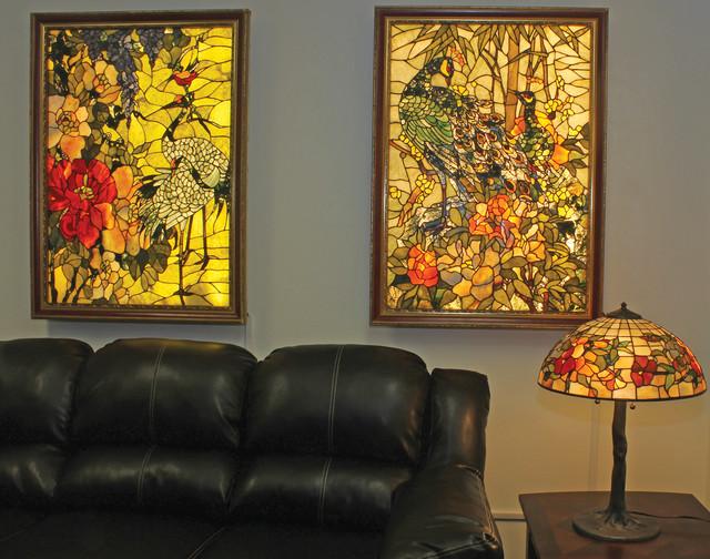 Backlit Gemstone Art Nouveau Wall Art With A Gemstone Table Lamp