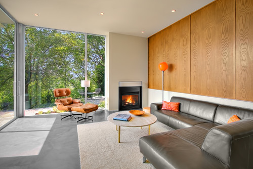 Living Room with Wooden Wall Panelling