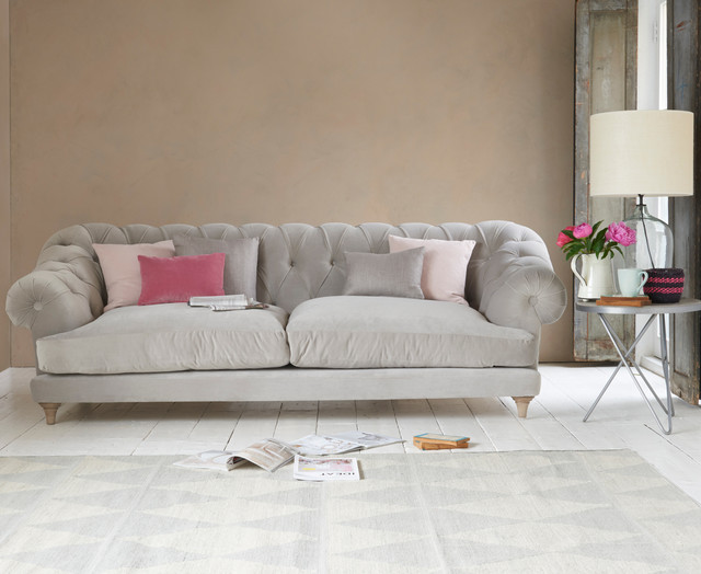 Perfect Bagsie Sofa In Smoky Grey Clever Velvet Contemporary Living Room