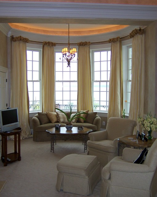 Bow Window Treatments : Ballgown drapery on bow window contemporary living