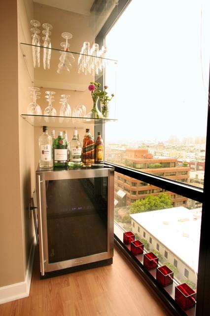 Ballpark condo contemporary living room san - Living room bar ideas ...