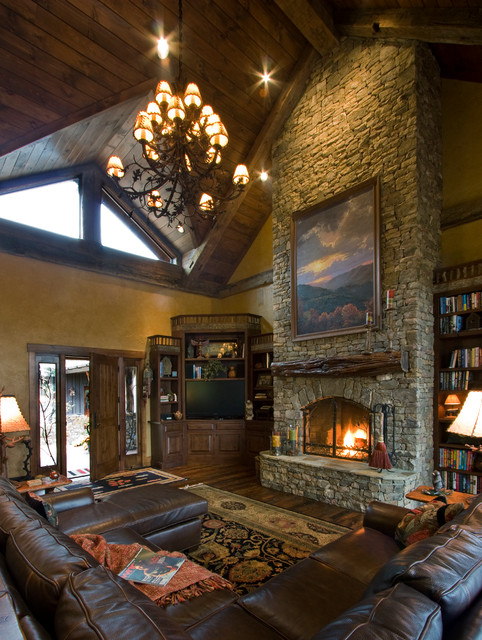 rustic traditional living room ideas | Balsam Mountain Rustic Elegance - Rustic - Living Room ...
