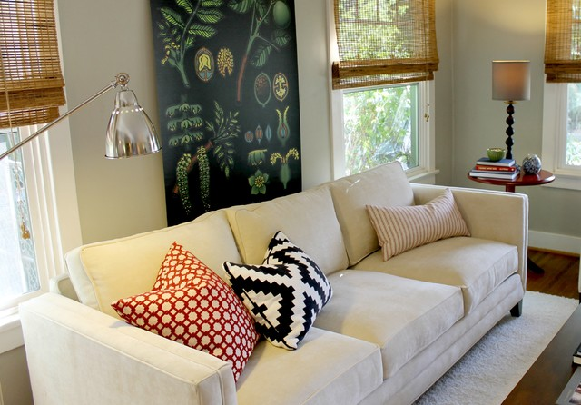 Bamboo Blinds, Nickel Finish Lamp and Botanical Chart traditional-living-room