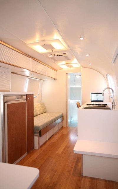 Bamboo Flooring And Plywood In Airstream Modern Living Room Classy Airstream Interior Design Minimalist