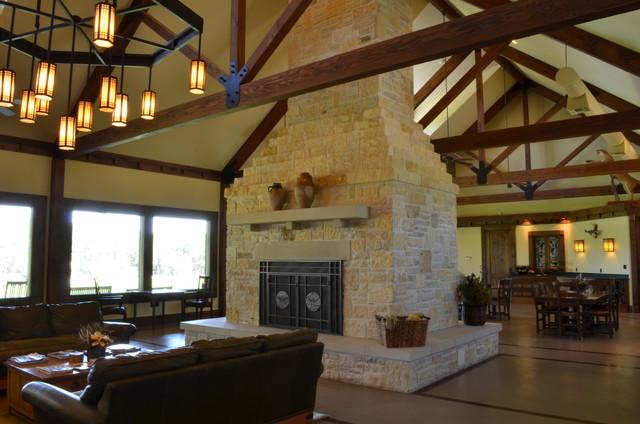 Bandera Lodge Traditional Living Room Austin By Texas Home Plans