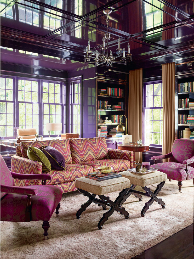 Living room library - contemporary enclosed dark wood floor living room library idea in Other with purple walls