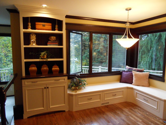 Banquette Seating Custom Bookcase Traditional Living Room