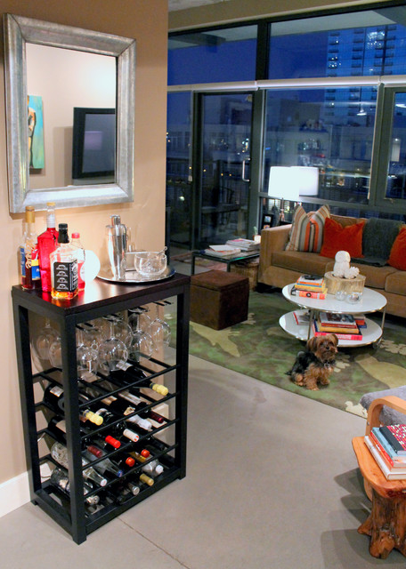 Bar Off The Kitchen Contemporary Living Room Denver