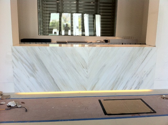 Bar With Suspended Counter Top Book Matched Calacatta Marble  Contemporary Living Room