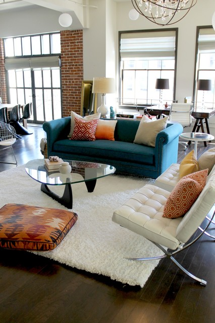 Barcelona Chairs, Noguchi Coffee Table with Orange and Teal ...
