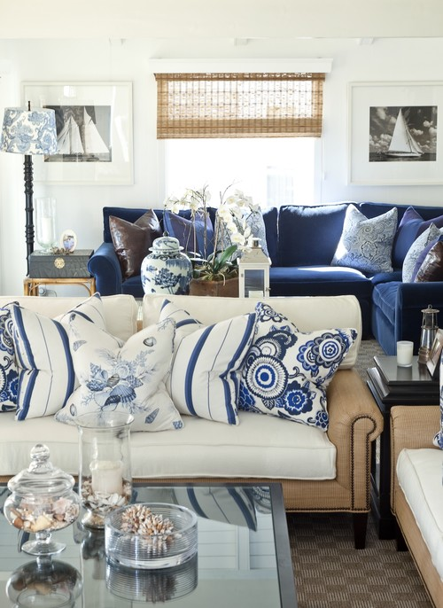 Where Can I Find The Blue And White Striped Pillows On The White Sofa