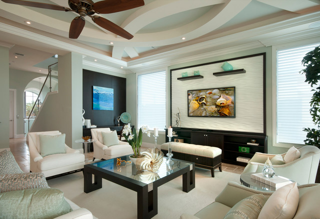 Inspiration For A Large Transitional Living Room Remodel In Miami With Green  Walls And A Wall