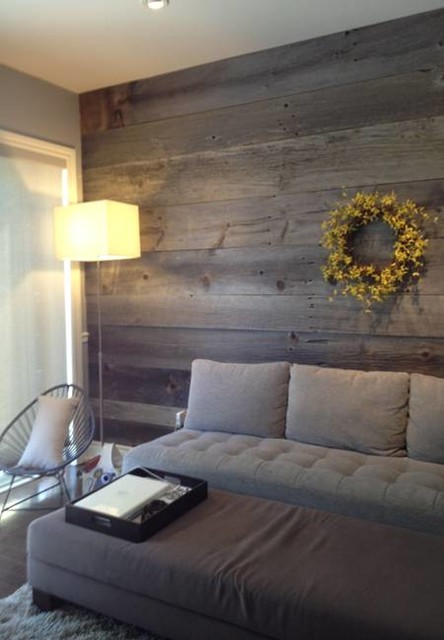 Barn Board Feature Walls - Farmhouse - Living Room ...