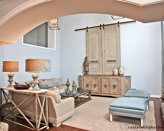 Interior Barn Door Living Design Ideas, Pictures, Remodel & Decor