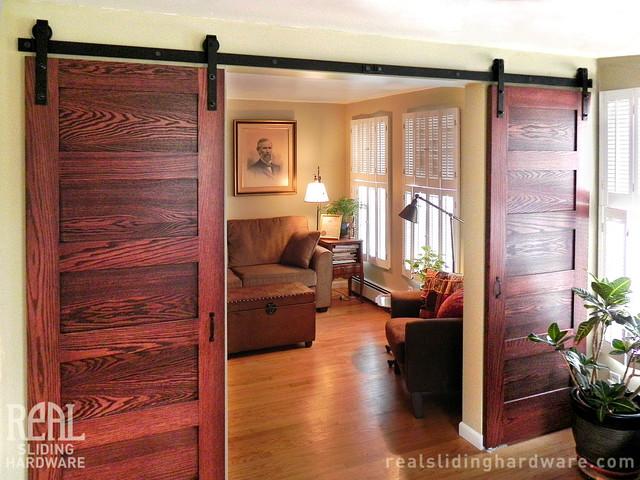 Barn Door Hardware American Traditional Living Room