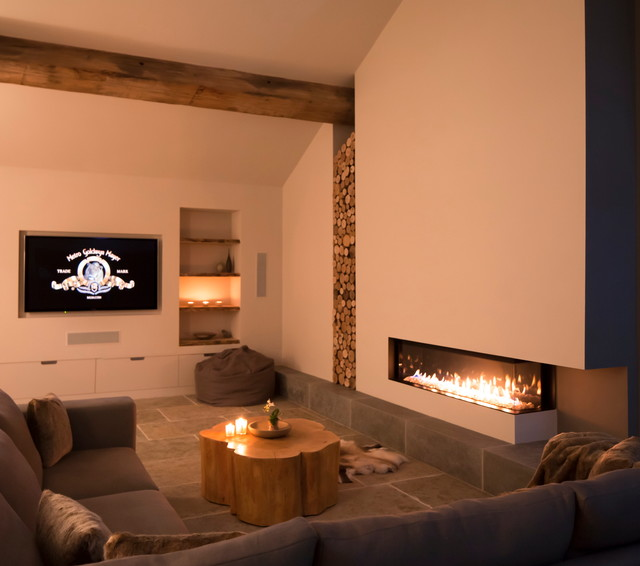 Barn lounge with log stack contemporary living room for Bathroom design 3mx3m