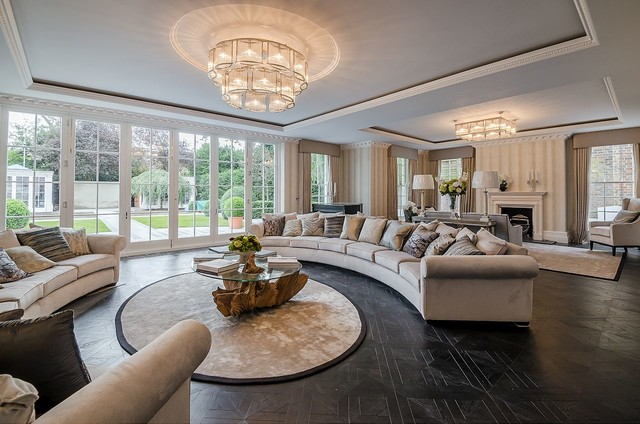 Elegant Barnes Mansion, Versailles In Colour Carbon Contemporary Living Room