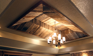 Barnwood Ceiling Eclectic Living Room Oklahoma City