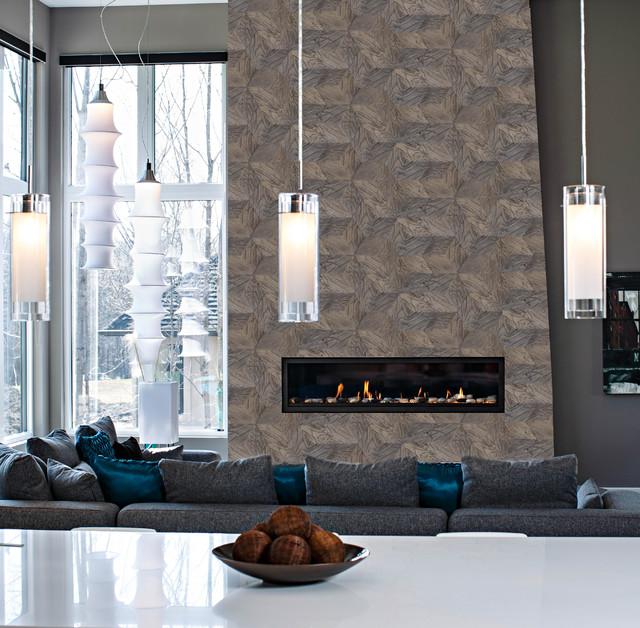 Barnwood Hive Tile Fireplace Modern Living Room