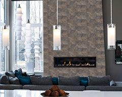 Barnwood Hive Tile Fireplace modern-living-room