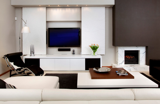 Contemporary Formal Living Room Idea In Perth With Multicolored Walls, A  Standard Fireplace And A