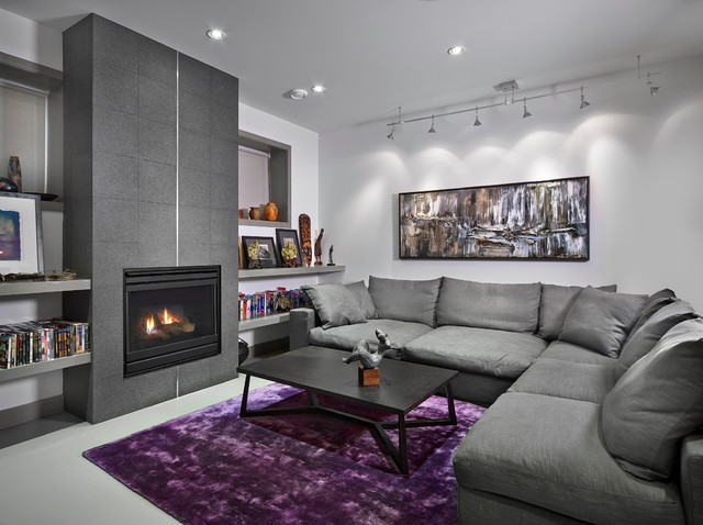 Basement living room contemporary living room - Purple black and grey living room ...