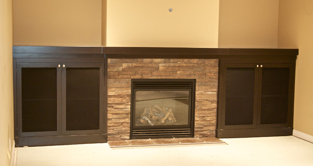 Basement media storage cabinets - Contemporary - Living Room - calgary - by Kniss Custom Woodwork