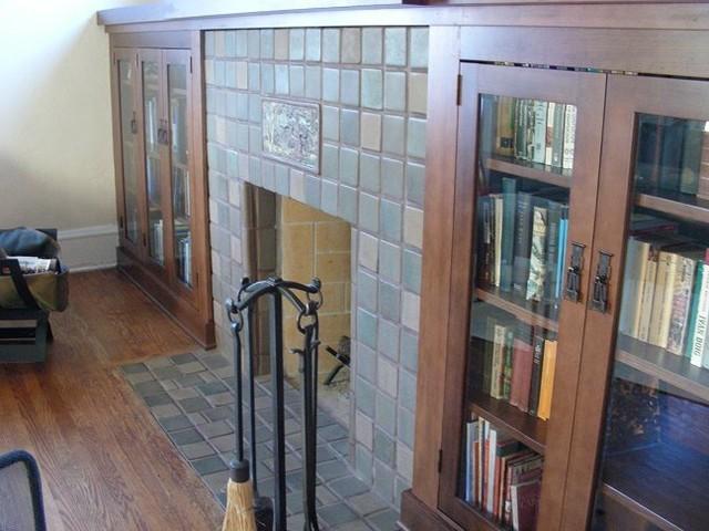 Batchelder Tile Fireplace in San Diego - Craftsman - Living Room ...