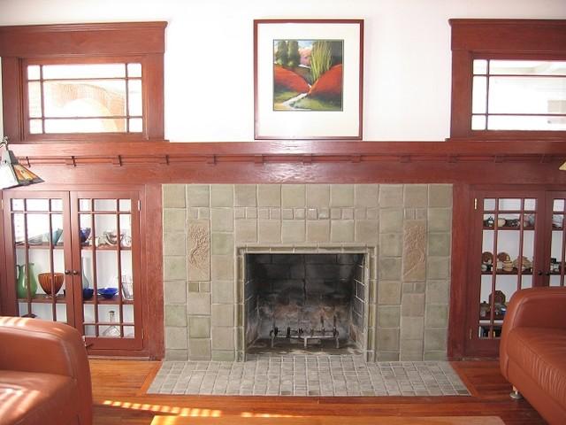Batchelder Tile Fireplaces - San Diego - Craftsman - Living Room ...