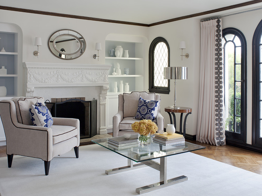 Inspiration for a timeless enclosed living room remodel in San Francisco with a standard fireplace