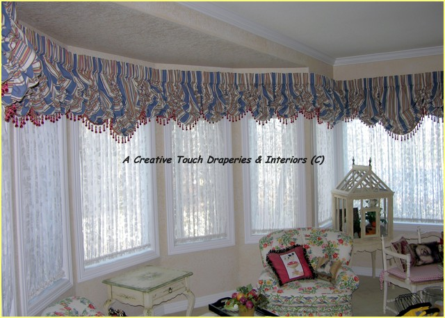 Bay Window Balloon Valances Traditional Living Room Denver By A Creative Touch Draperies