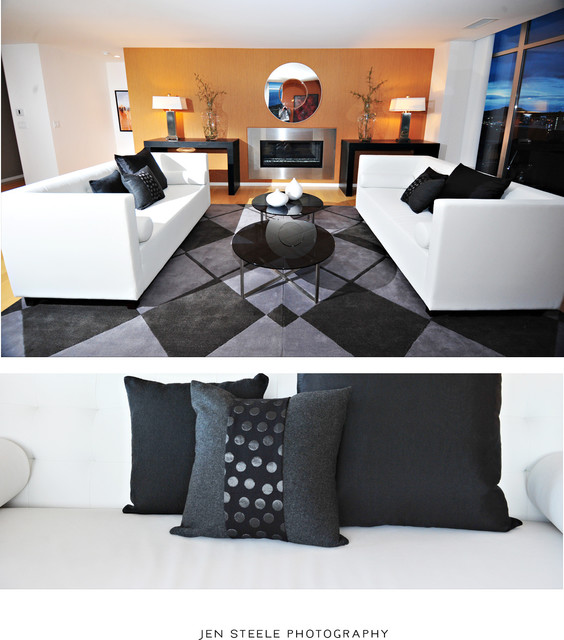 Bayview Penthouse Staging contemporary-living-room