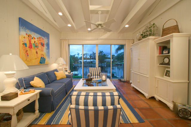 Beach cottage condo beach style living room miami for Beach cottage style living room furniture