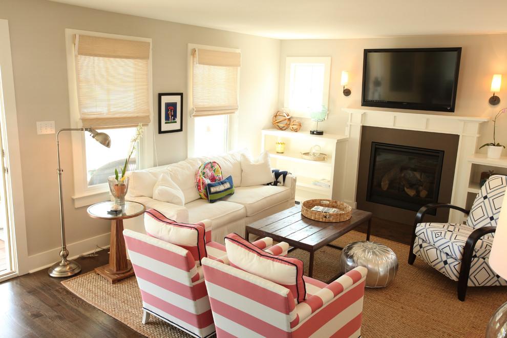 Living room - coastal living room idea in Philadelphia with gray walls