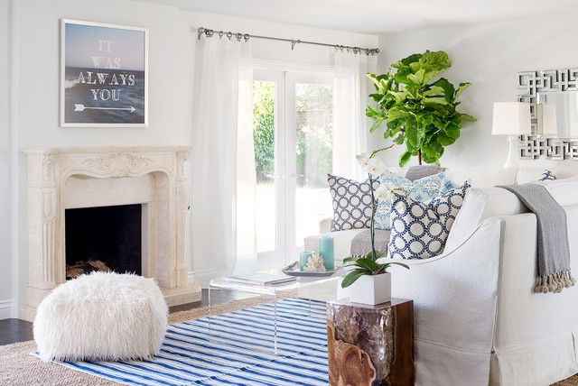 Beach Glam Bungalow Beach Style Living Room Santa