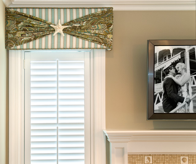 beach house cornice window treatment beach style