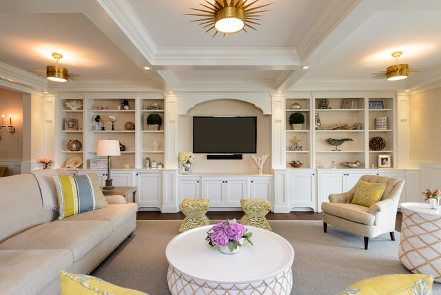 Beach house beach style living room new york by heather ryder design - Beach style living room ...