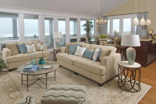 Beach house living room traditional living room for Coastal living rooms ideas